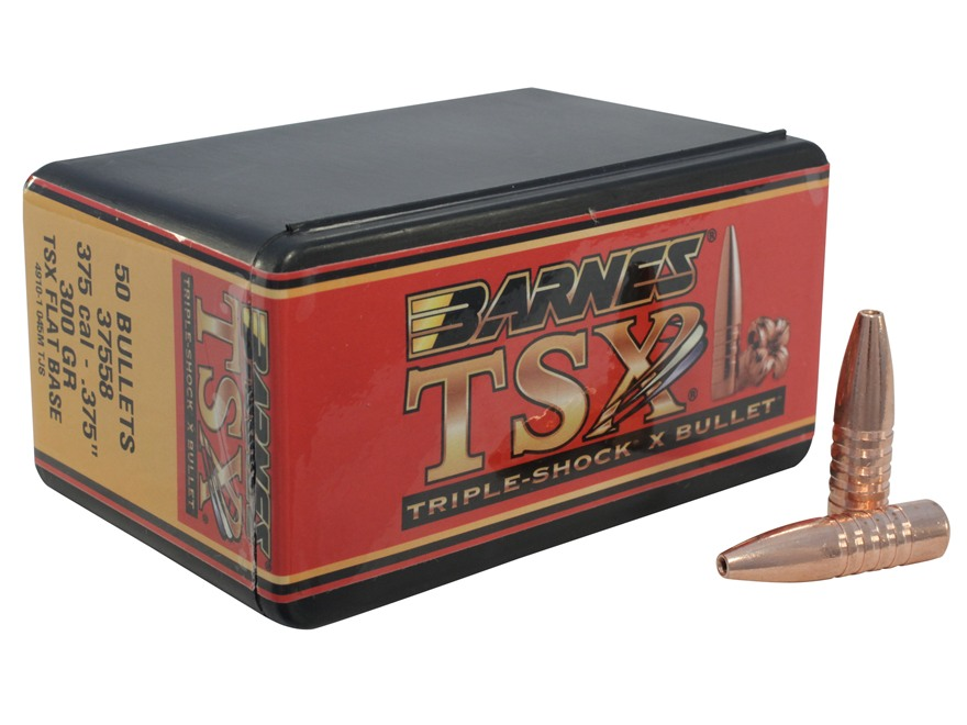 Barnes Triple-Shock X Bullets 375 Caliber (375 Diameter) 300 Grain Hollow Point Flat Ba...