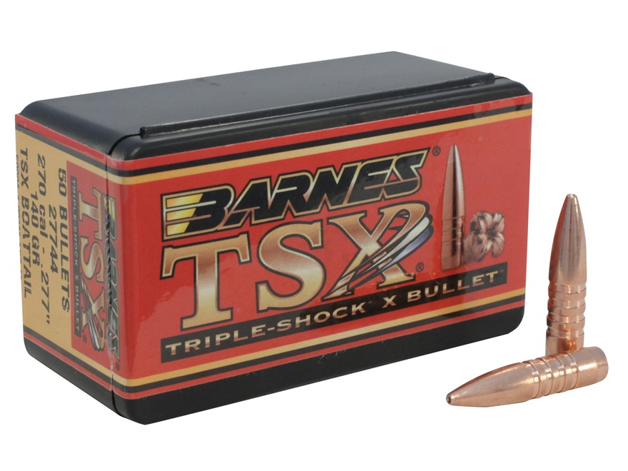 Barnes Triple-Shock X Bullets 270 Caliber (277 Diameter) 140 Grain Hollow Point Boat Ta...