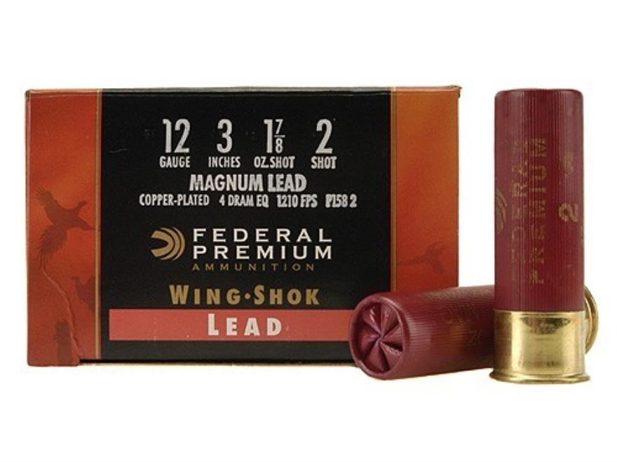 "Federal Premium Wing-Shok Ammunition 12 Gauge 3"" 1-7/8 oz Buffered #2 Copper Plated Sho..."