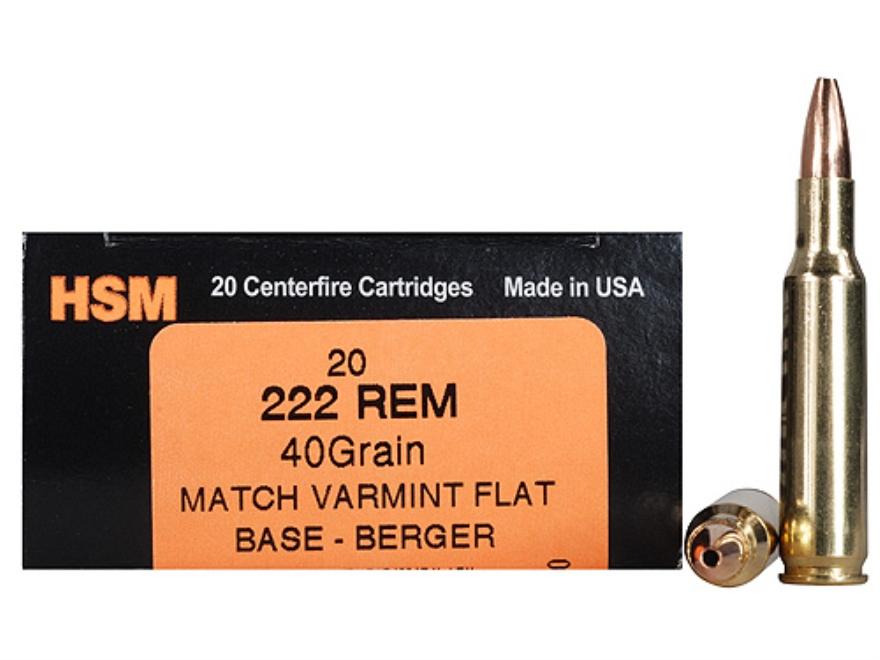 HSM Varmint Gold Ammunition 222 Remington 40 Grain Berger Varmint Hollow Point Flat Bas...