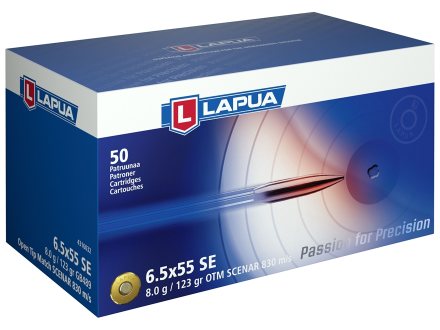 Lapua Scenar Ammunition 6.5x55mm Swedish Mauser 123 Grain Hollow Point Boat Tail Box of 50