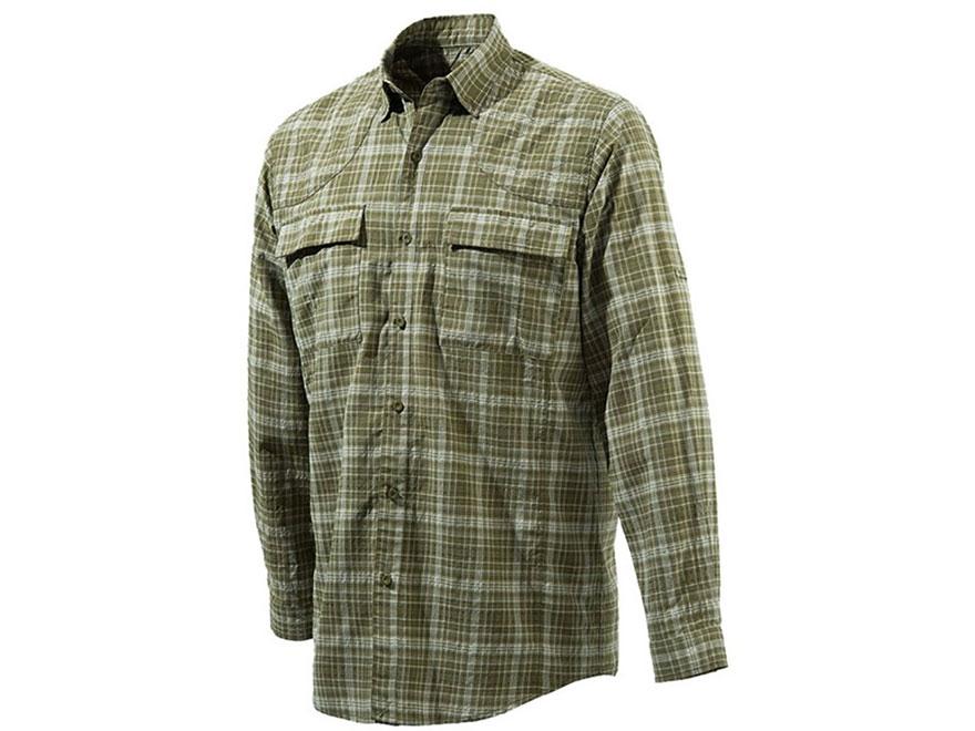 Beretta Men's Quick Dry Plaid Button-Up Shirt Long Sleeve Polyester