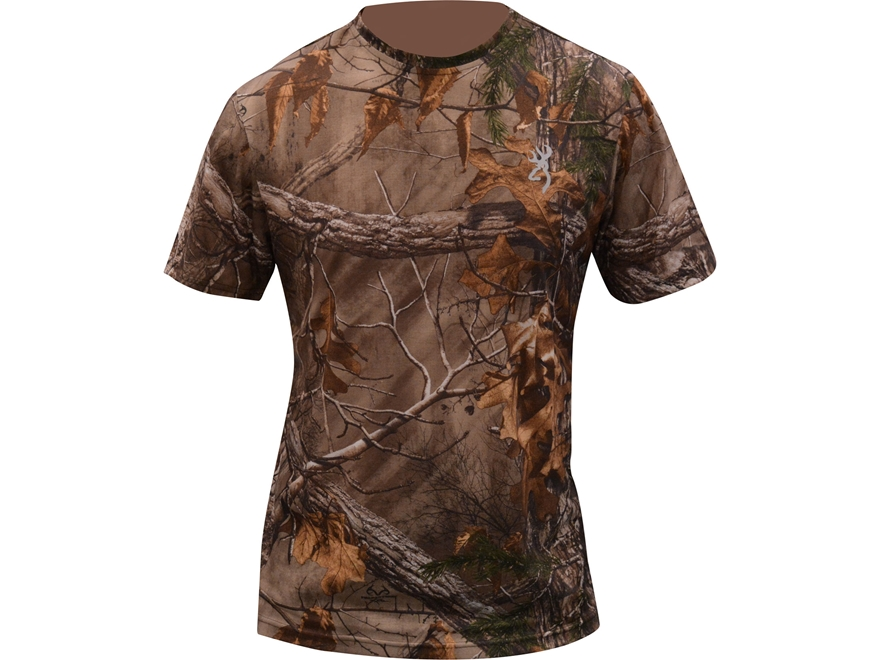 Browning Men's Buck Flag Logo T-Shirt Short Sleeve Polyester Realtree Xtra Camo