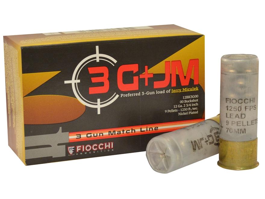 """Fiocchi 3-Gun Ammunition 12 Gauge 2-3/4"""" Buffered 00 Buckshot 9 Pellets"""