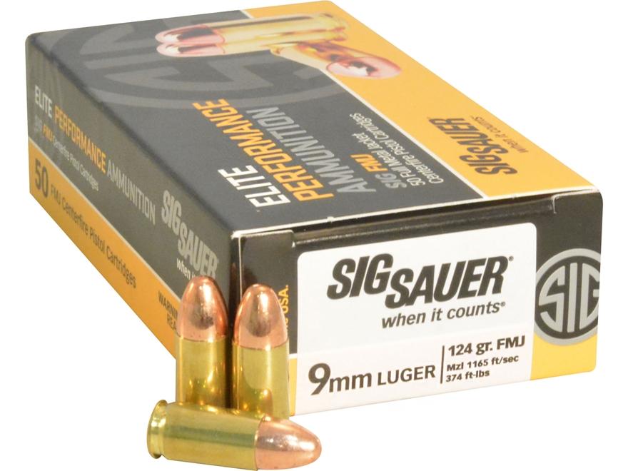 Sig Sauer Elite Performance Ammunition 9mm Luger 124 Grain Full Metal Jacket Box of 50