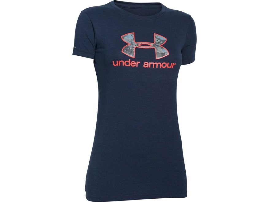 Under Armour Women's UA Camo Fill Logo T-Shirt Short Sleeve Cotton and Polyester