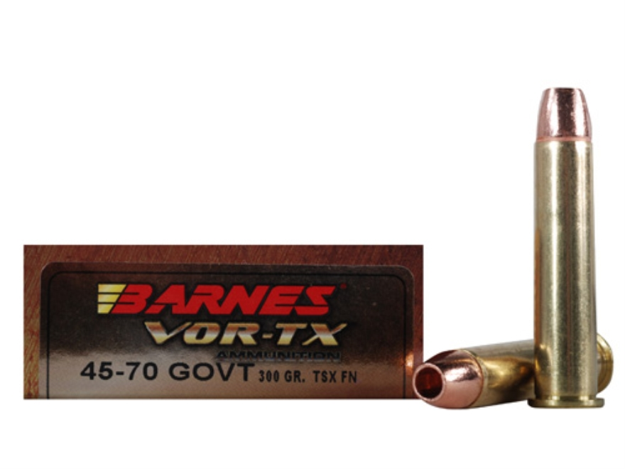 Barnes VOR-TX Ammunition 45-70 Government 300 Grain Triple-Shock X Bullet Flat Nose Lea...