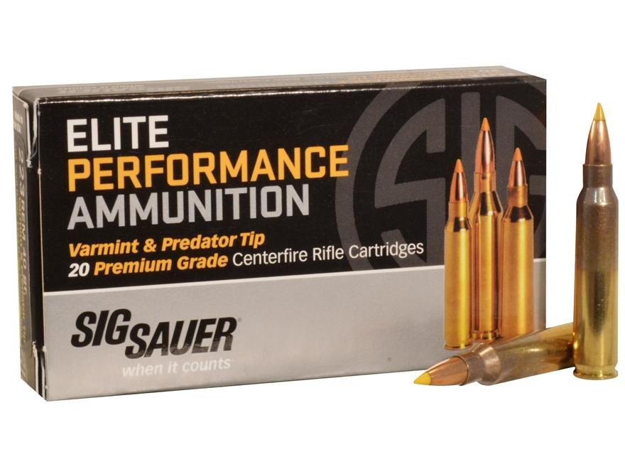 Sig Sauer Elite Performance Varmint and Predator Ammunition 223 Remington 40 Grain Tipp...