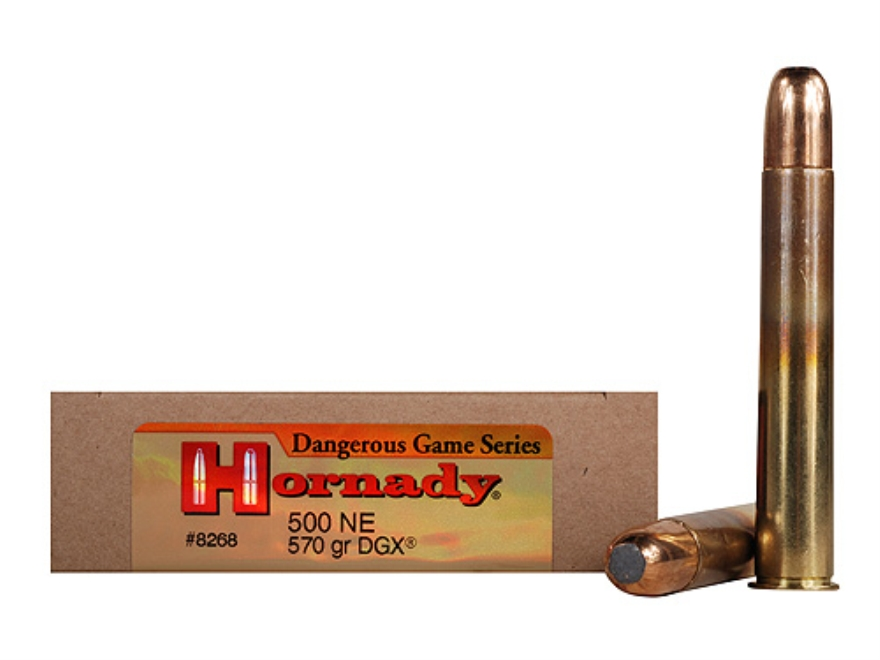 "Hornady Dangerous Game Ammunition 500 Nitro Express 3"" 570 Grain DGX Flat Nose Expandin..."