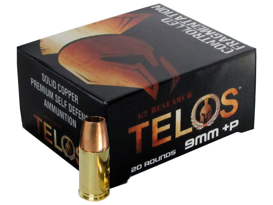G2 Research Telos Ammunition 9mm Luger +P 92 Grain Controlled Fragmenting Hollow Point ...