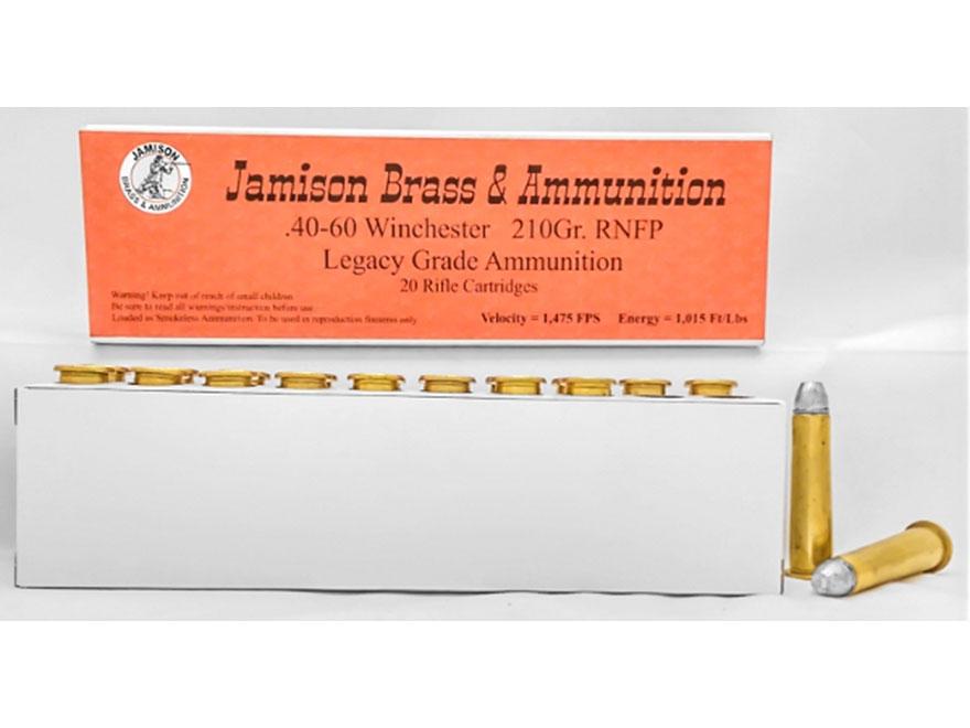 Jamison Ammunition 40-60 WCF 210 Grain Round Nose Flat Point Box of 20
