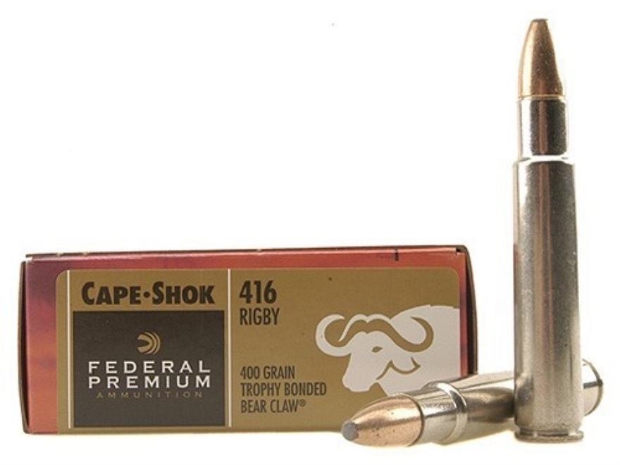 Federal Premium Cape-Shok Ammunition 416 Rigby 400 Grain Speer Trophy Bonded Bear Claw ...