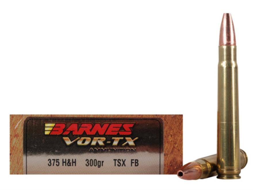 Barnes VOR-TX Safari Ammunition 375 H&H Magnum 300 Grain Triple-Shock X Bullet Hollow P...