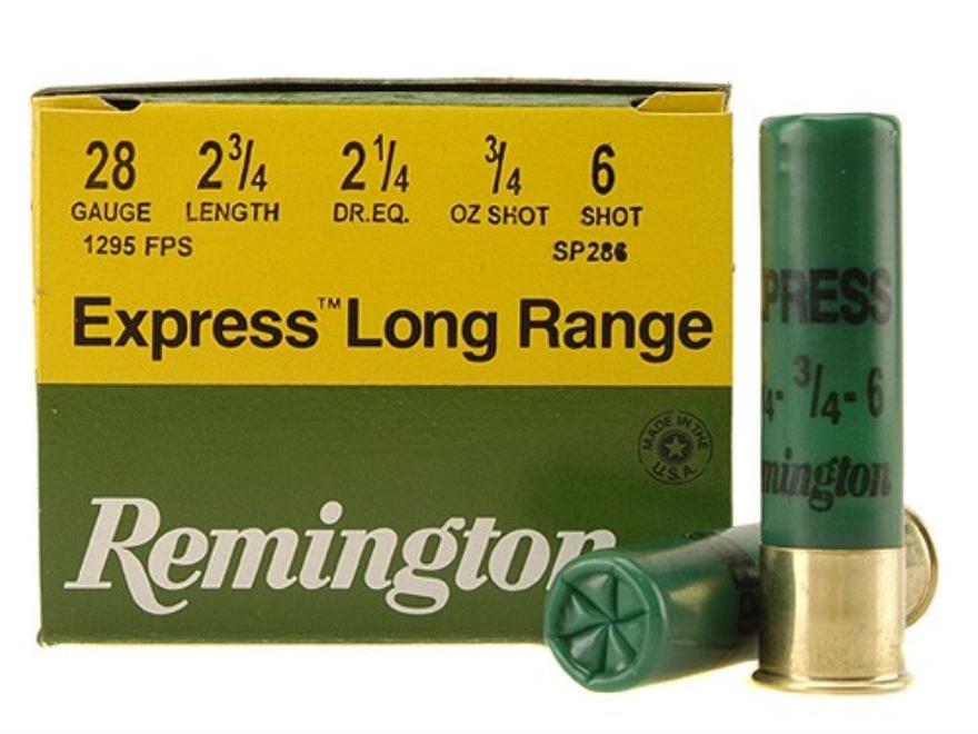 "Remington Express Extra Long Range Ammunition 28 Gauge 2-3/4"" 3/4 oz #6 Shot Box of 25"
