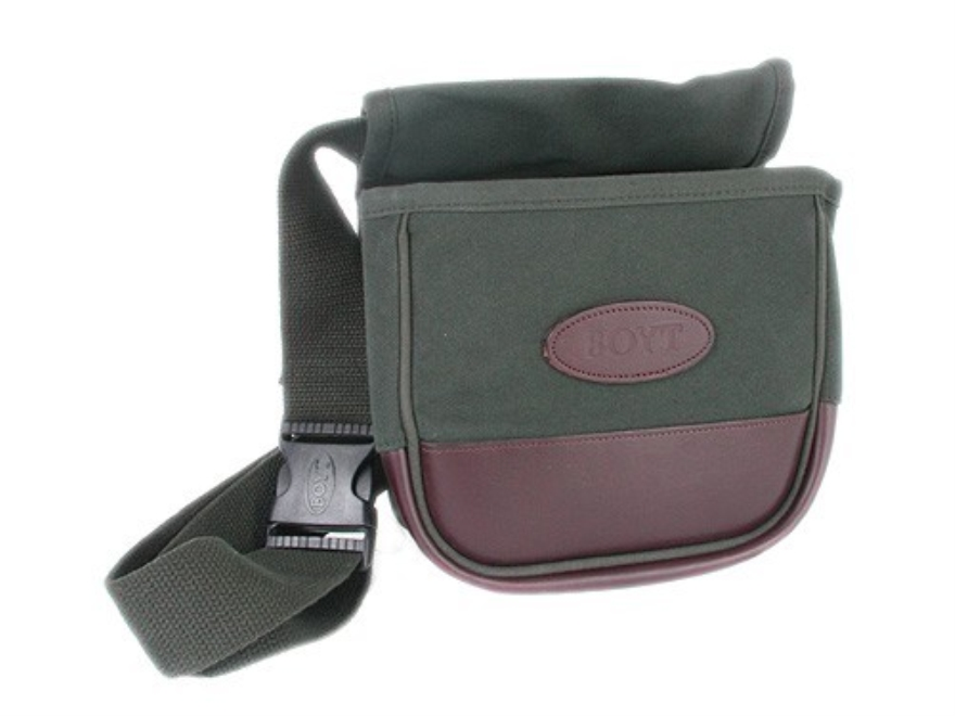 Boyt Deluxe Divided Shotgun Shell Pouch with Belt Canvas with Leather Trim Green