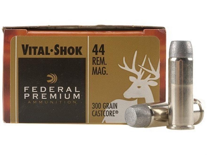 Federal Premium Hunting Ammunition 44 Remington Magnum 300 Grain CastCore Lead Flat Poi...