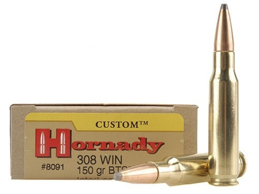 Hornady Custom Ammunition 308 Winchester 150 Grain InterLock Spire Point Boat Tail Box ...