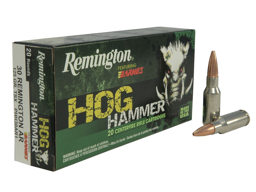 Remington Hog Hammer Ammunition 30 Remington AR 125 Grain Barnes Triple-Shock X Bullet ...