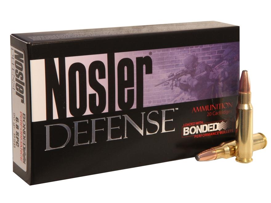 Nosler Defense Ammunition 6.8mm Remington SPC 90 Grain Bonded Solid Base Box of 20