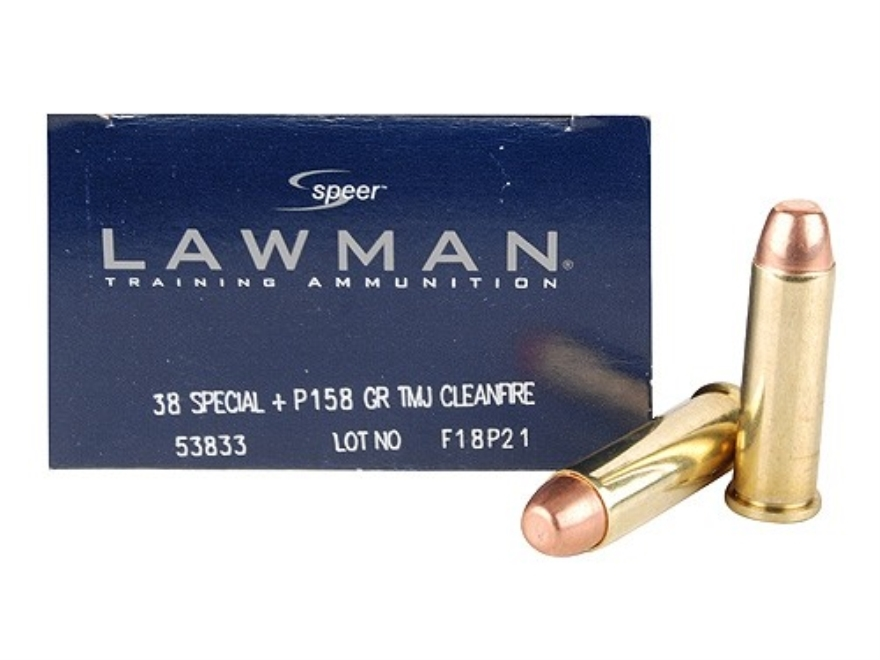 Speer Lawman Cleanfire Ammunition 38 Special +P 158 Grain Total Metal Jacket Box of 50