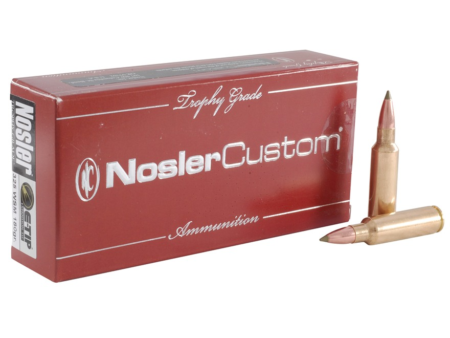 Nosler Trophy Grade Ammunition 325 Winchester Short Magnum (WSM) 180 Grain E-Tip Lead-F...
