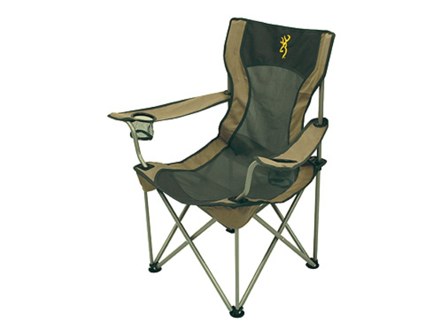 Browning Grizzly Camp Chair Steel Frame Nylon Seat and Back Khaki and Coal