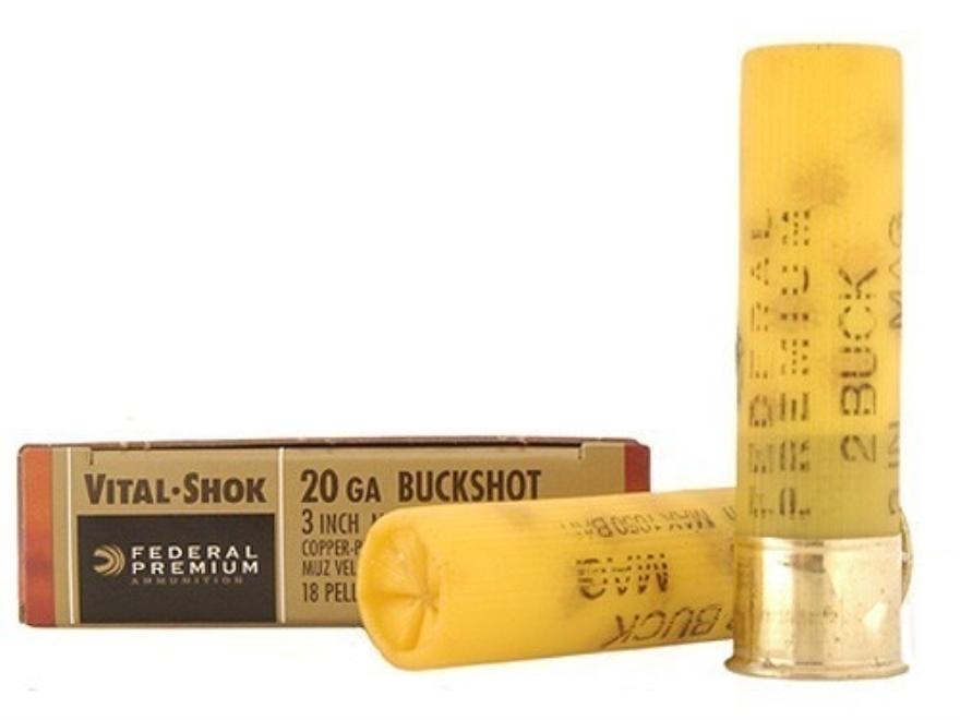 "Federal Premium Vital-Shok Ammunition 20 Gauge 3"" Buffered #2 Copper Plated Buckshot 18..."