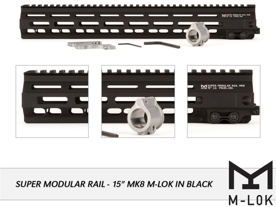 Geissele Super Modular Rail MK8 M-Lok Free Float Handguard with Low Profile Gas Block A...