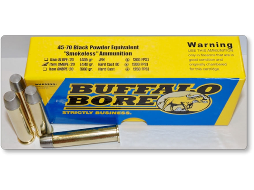 Buffalo Bore Smokeless Blackpowder Equivalent Ammunition 45-70 Government 440 Grain Har...