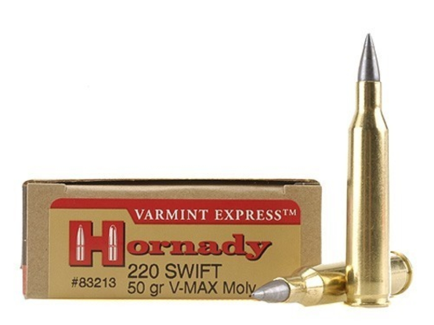 Hornady Varmint Express Ammunition 220 Swift 50 Grain V-Max Moly Box of 20