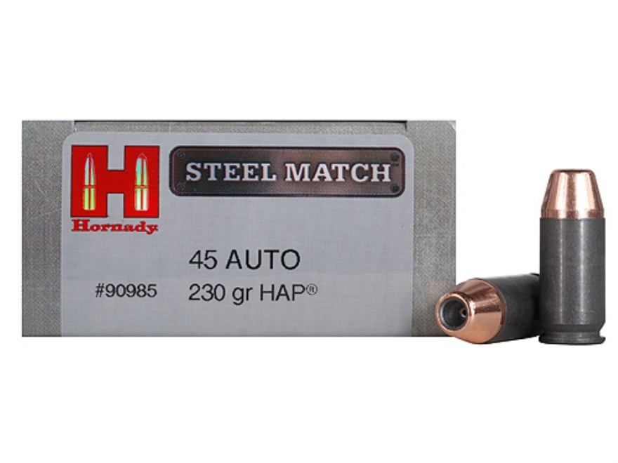 Hornady Steel Match Ammunition 45 ACP 230 Grain Jacketed Hollow Point HAP Steel Case Bo...