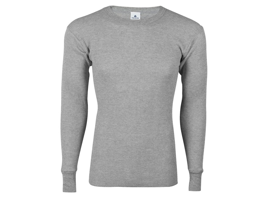Indera Men's Heavyweight Thermal Shirt Long Sleeve Cotton Heather Gray