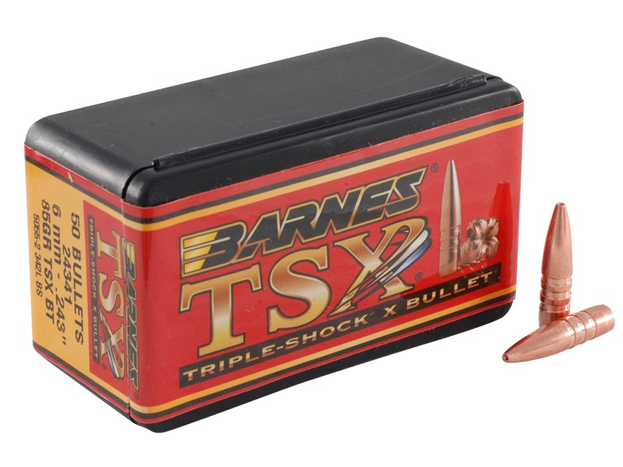 Barnes Triple-Shock X Bullets 243 Caliber, 6mm (243 Diameter) 85 Grain Hollow Point Boa...