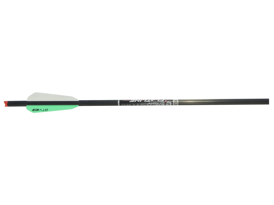 "Easton FlatLine 20"" Carbon Crossbow Bolt 3"" BTV Vanes Half Moon Nocks Black Pack of 6"