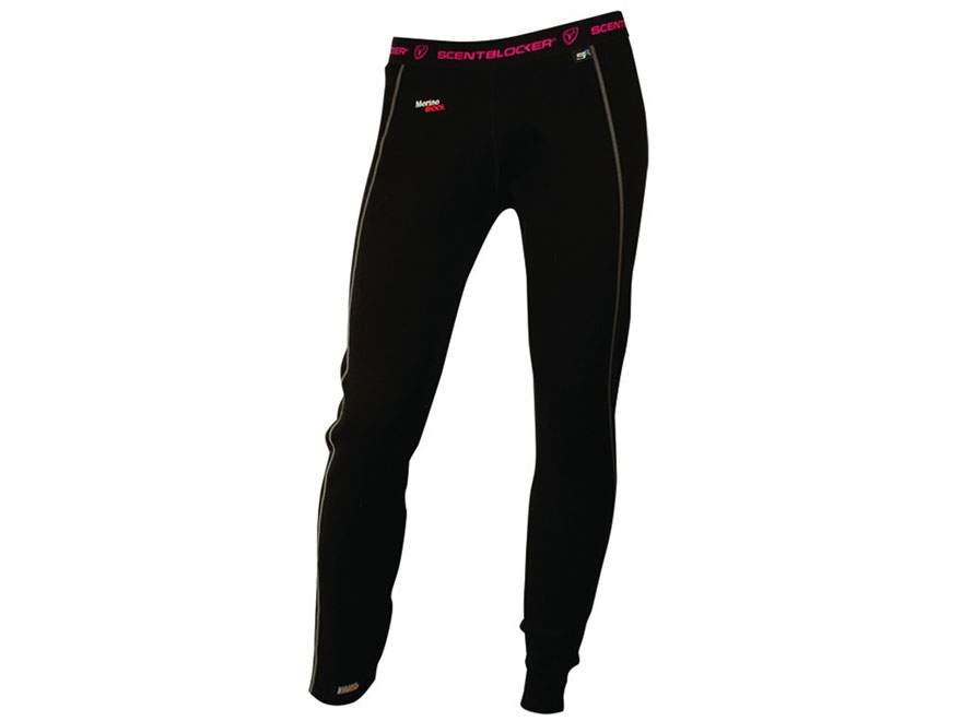 ScentBlocker Women's SOLA Expedition Base Layer Pants Merino Wool Black