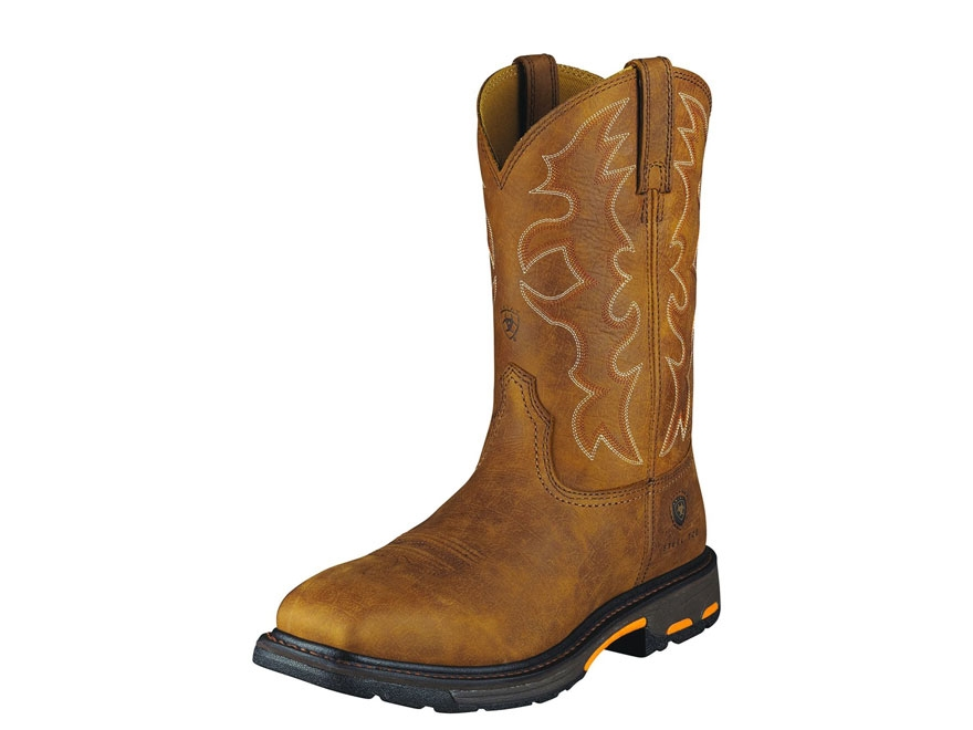 """Ariat Workhog 11"""" Pull-On Square Steel Toe Work Boots Leather Men's"""