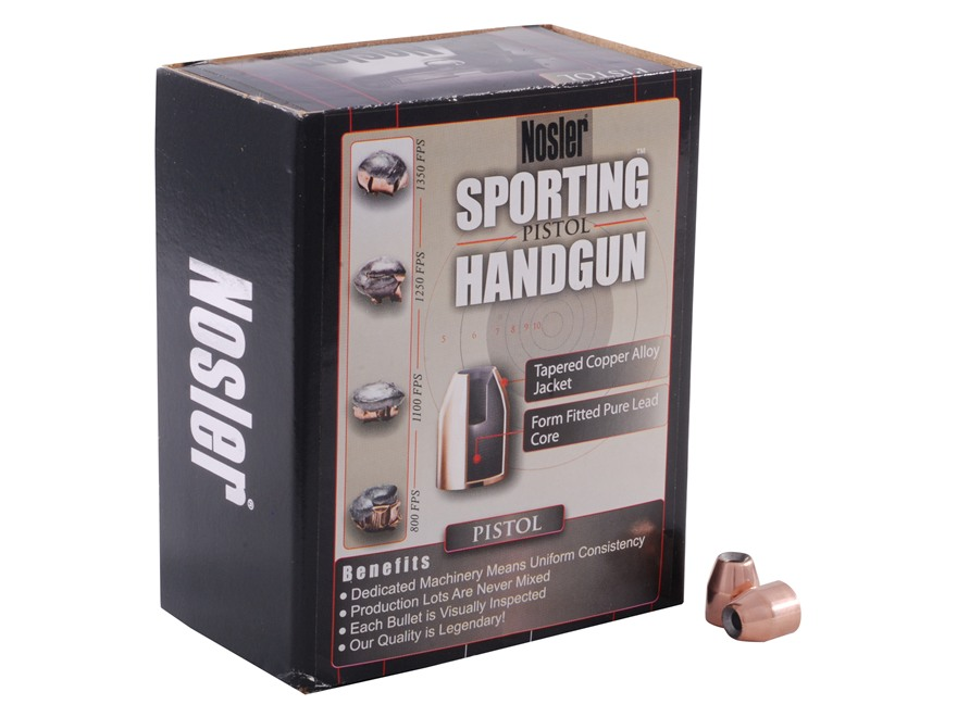 Nosler Sporting Handgun Bullets 40 S&W, 10mm Auto (400 Diameter) 135 Grain Jacketed Hol...