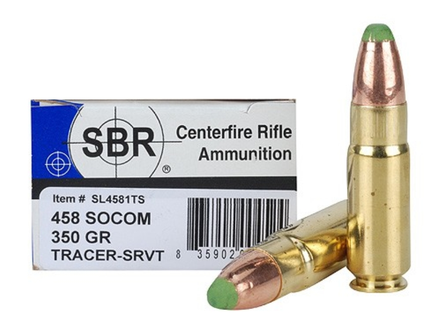 SBR LaserMatch Tracer Ammunition 458 SOCOM 350 Grain Full Metal Jacket SRVT Box of 20