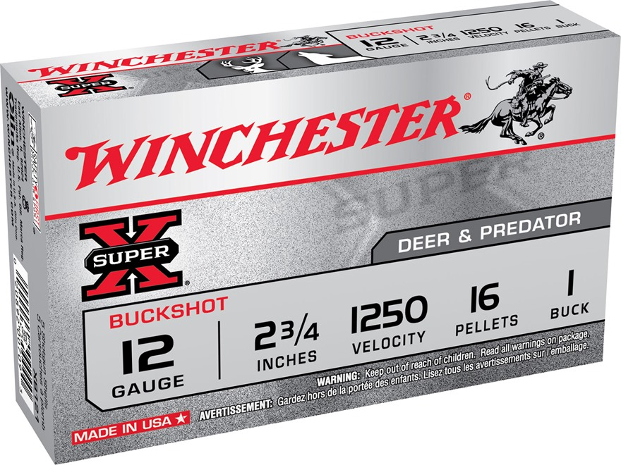 "Winchester Super-X Ammunition 12 Gauge 2-3/4"" Buffered #1 Buckshot 16 Pellets"