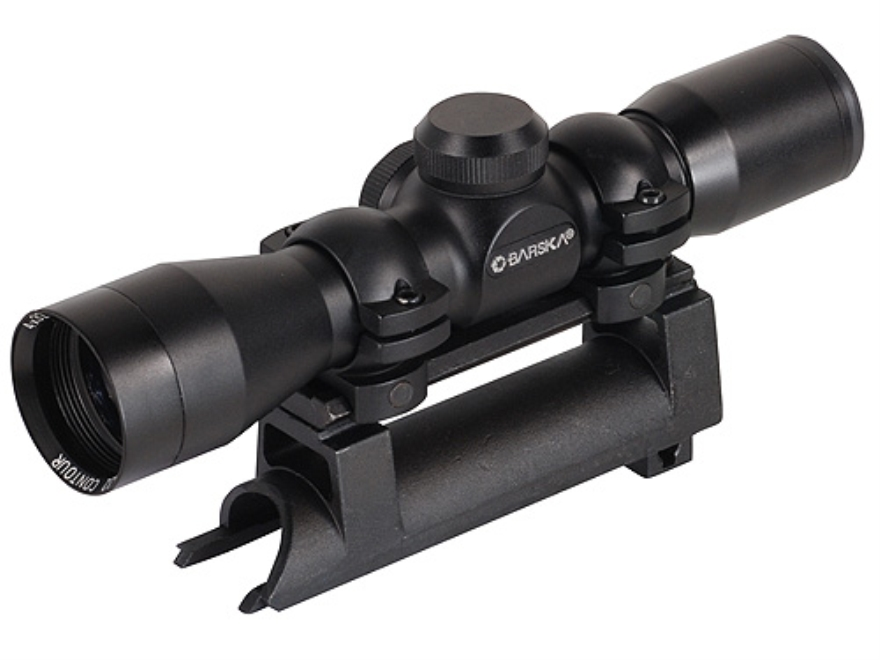 Barska Compact Contour SKS Rifle Scope 4x 32mm Duplex Reticle with SKS Mount and Rings ...