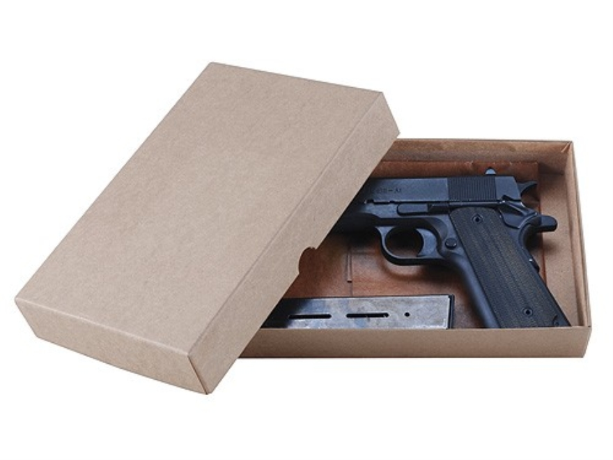 "Cylinder & Slide Reproduction 1911 Storage Box Hard Pistol Case with Waxed Paper 9"" Tan"