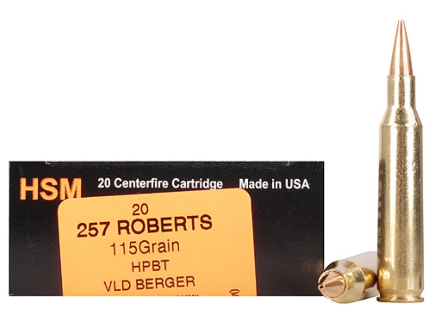 HSM Trophy Gold Ammunition 257 Roberts 115 Grain Berger Hunting VLD Hollow Point Boat T...