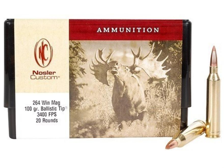 Nosler Custom Ammunition 264 Winchester Magnum 100 Grain Ballistic Tip Hunting Spitzer ...