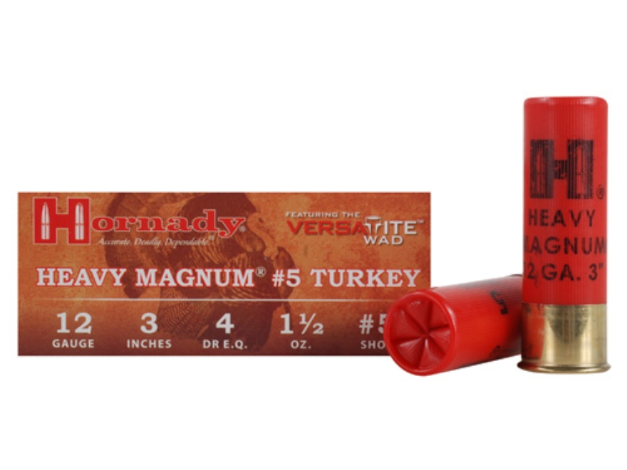 "Hornady Heavy Magnum Turkey Ammunition 12 Gauge 3"" 1-1/2 oz #5 Nickel Plated Shot Box o..."