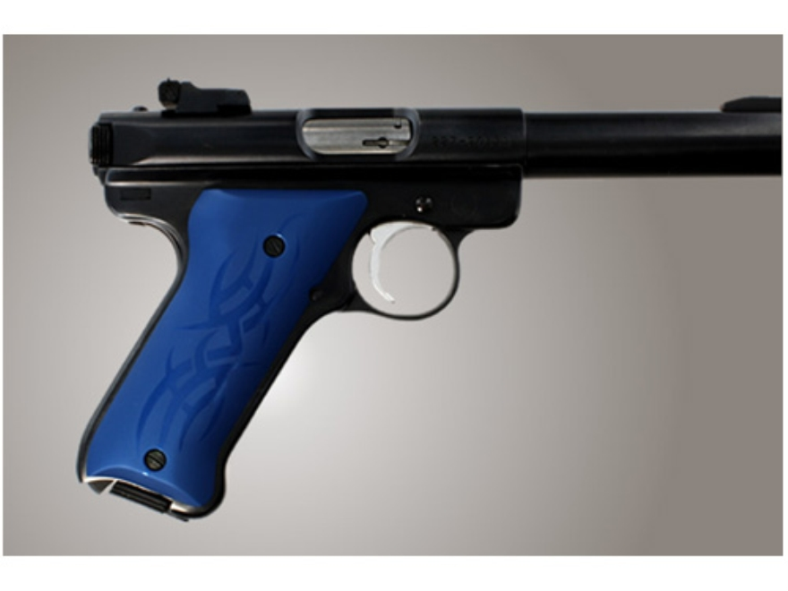 Hogue Extreme Series Grip Ruger Mark II, Mark III Tribal Aluminum Blue