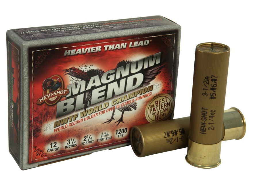 "Hevi-Shot Magnum Blend Turkey Ammunition 12 Gauge 3-1/2""  2-1/4 oz #5, #6 and #7 Hevi-S..."
