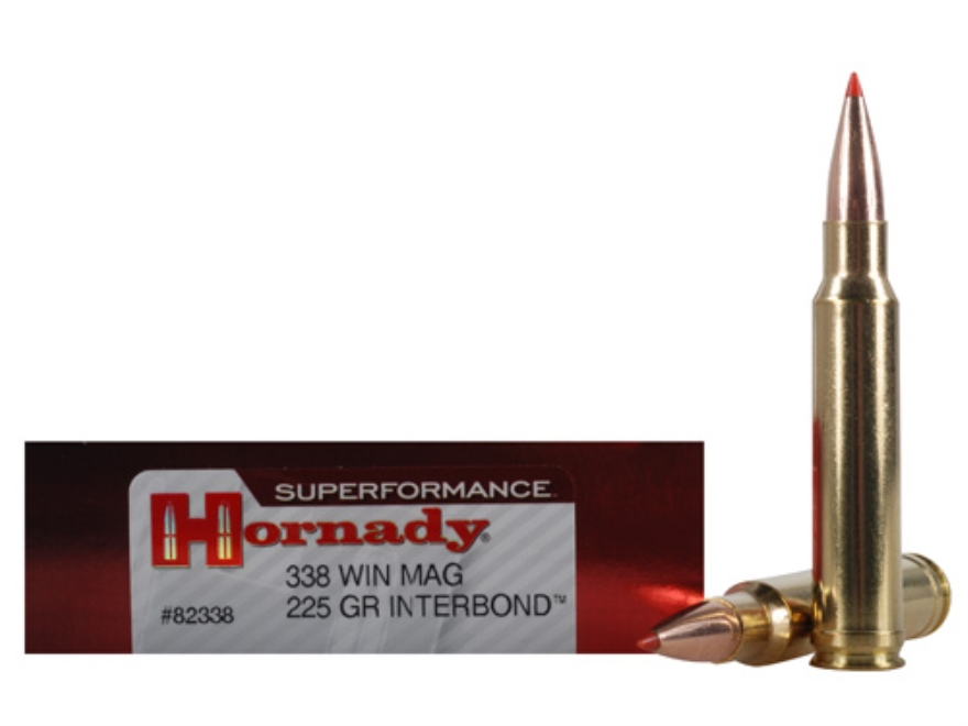 Hornady Superformance Ammunition 338 Winchester Magnum 225 Grain InterBond Boat Tail Bo...