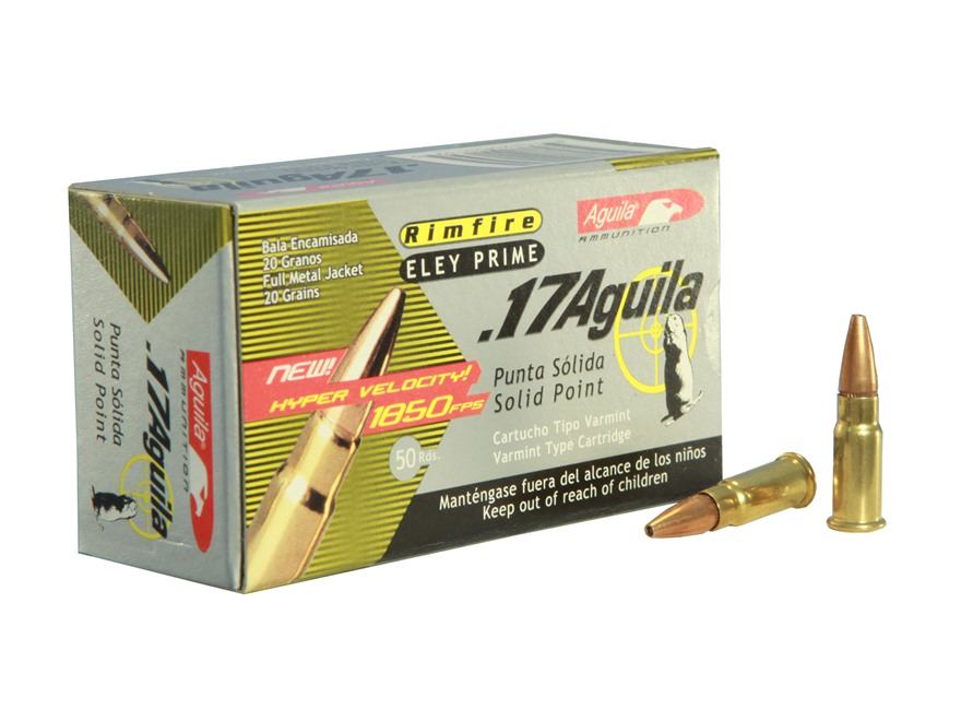 Aguila Ammunition 17 Aguila 20 Grain Jacketed Solid Point Box of 500 (10 Boxes of 50)