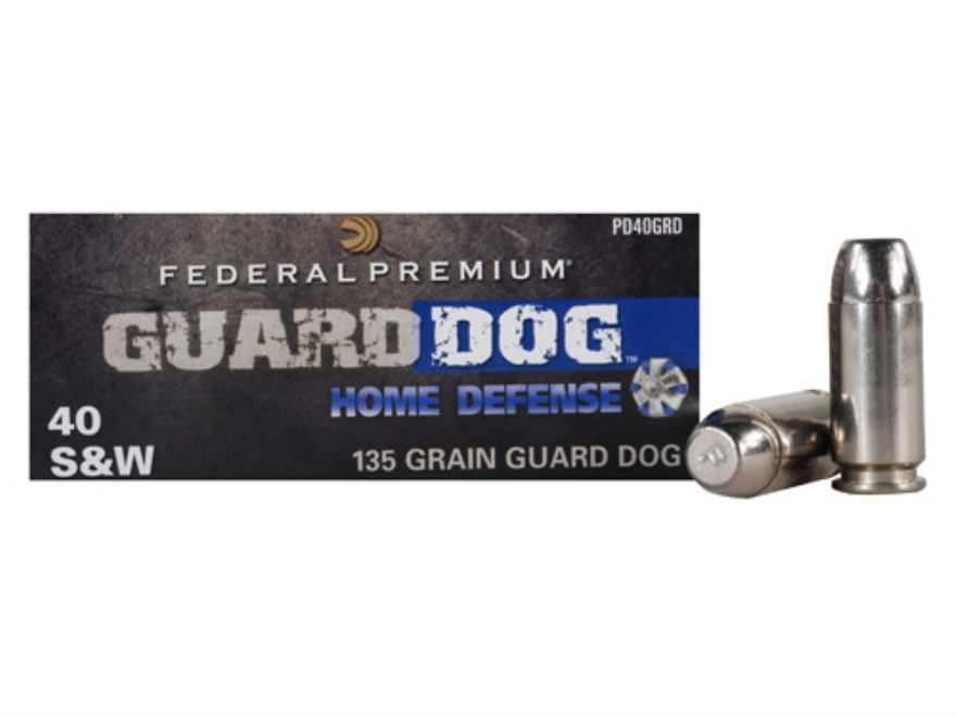 Federal Premium Guard Dog Home Defense Ammunition 40 S&W 135 Grain Expanding Full Metal...