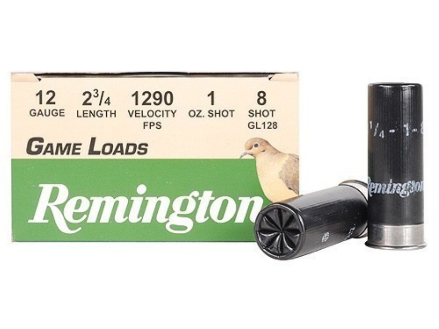 "Remington Game Load Ammunition 12 Gauge 2-3/4"" 1 oz #8 Shot Box of 25"